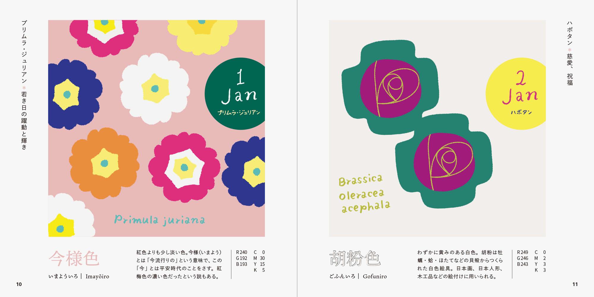 誕生花で楽しむ、和の伝統色ブック プリムラ・ジュリアンとハボタンのページ