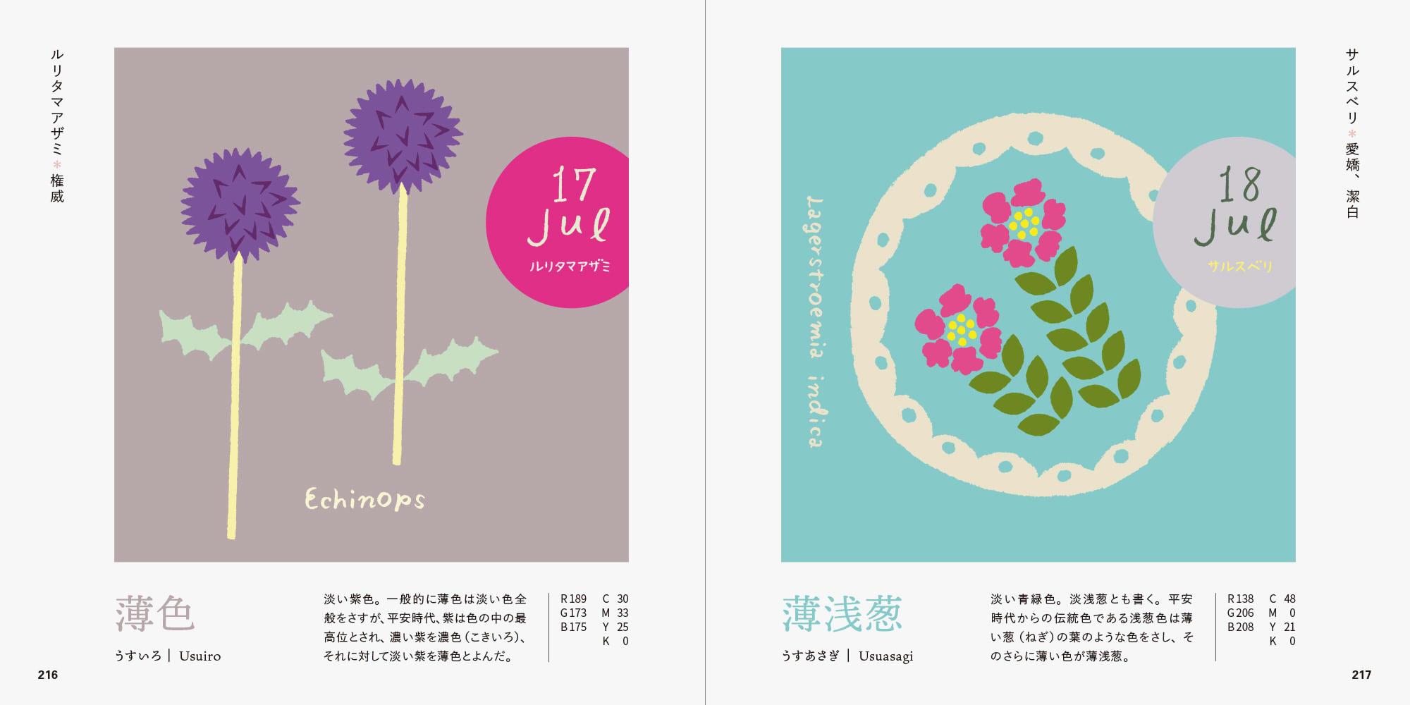 誕生花で楽しむ、和の伝統色ブック ルリタマアザミとサルスベリのページ