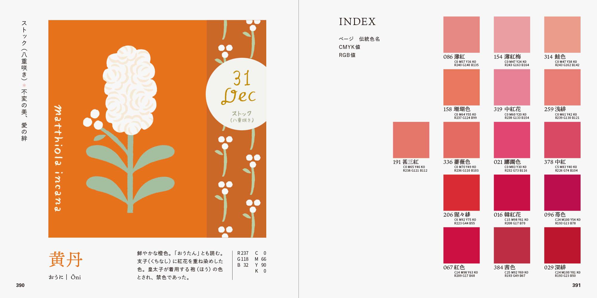 誕生花で楽しむ、和の伝統色ブック ストックと色名インデックスのページ
