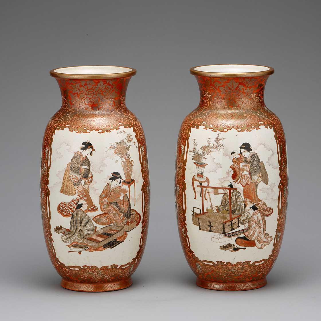 上絵金彩人物図花瓶(一対) 旻應軒(加賀薩摩)