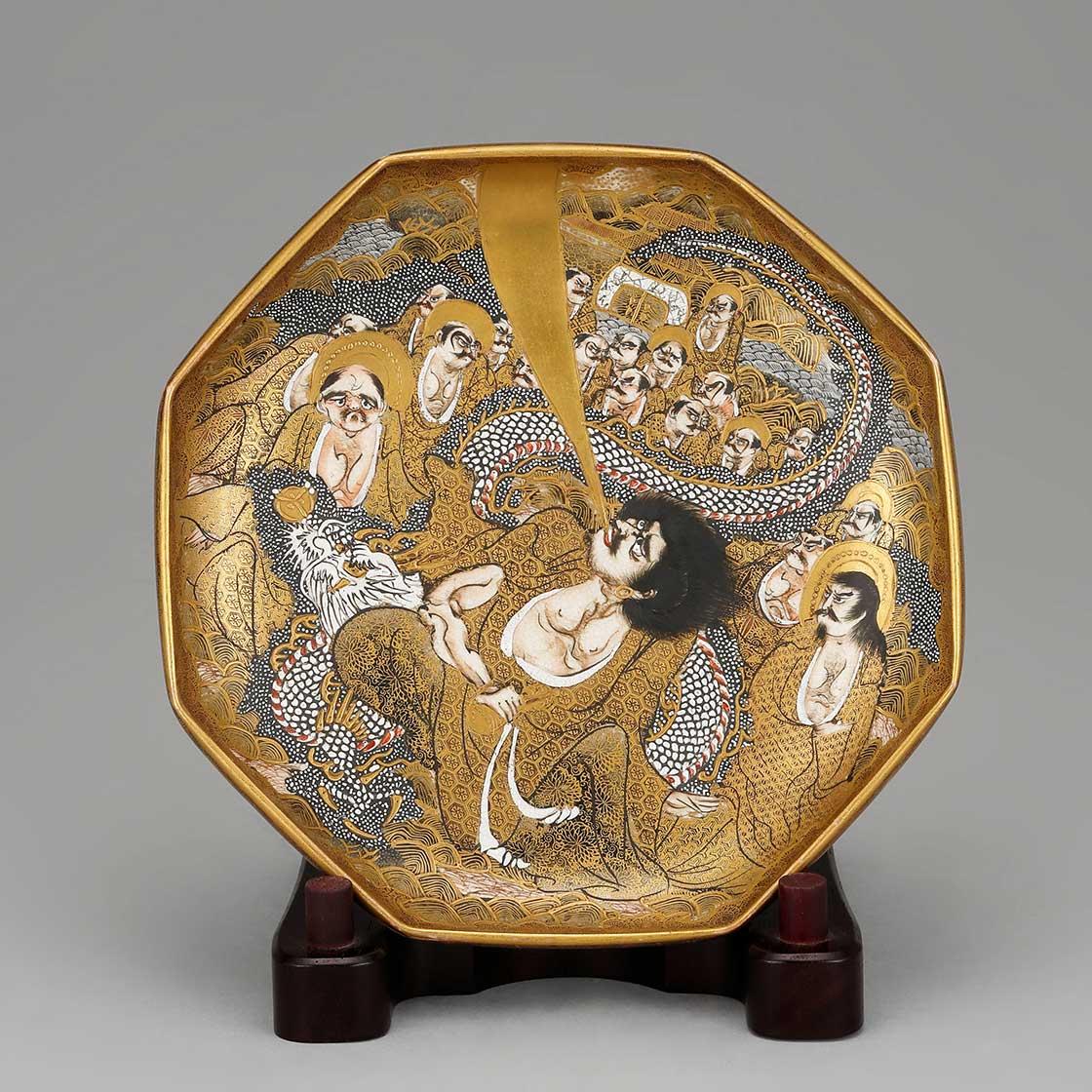 上絵金彩人物図飾皿(長崎薩摩)