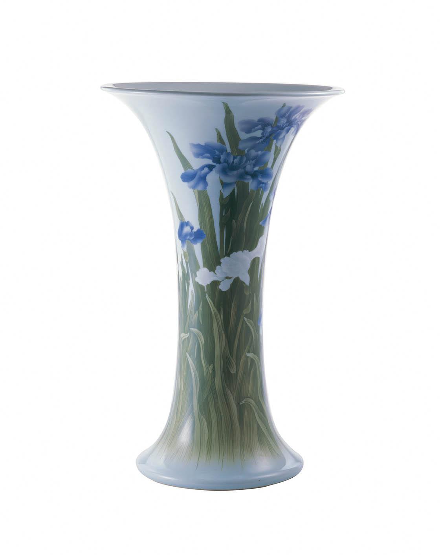 初代宮川香山《色入菖蒲図花瓶》1897-1912年頃