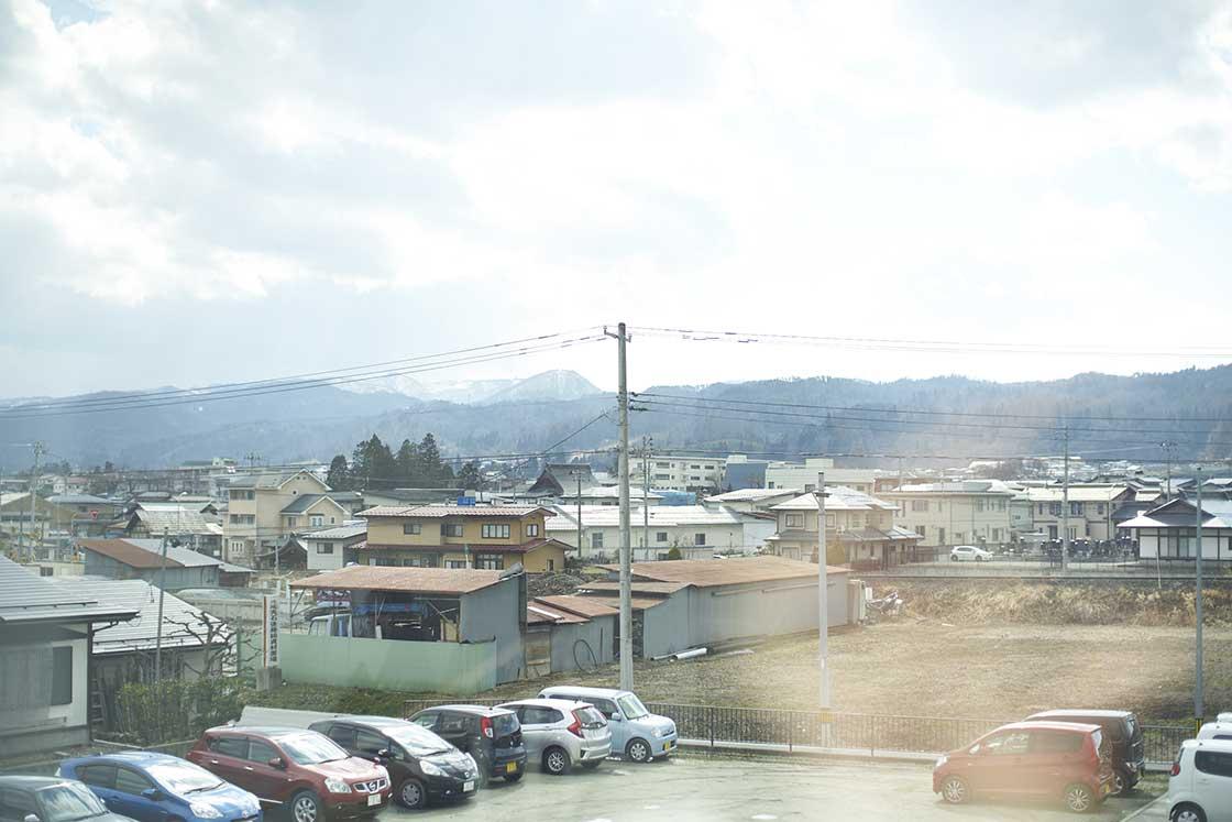 米富繊維の本社2階から見える風景