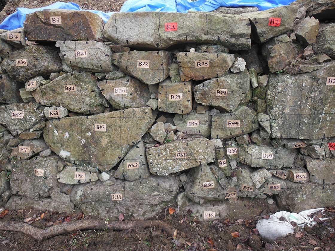 洲本城 南の丸 石垣修復の様子
