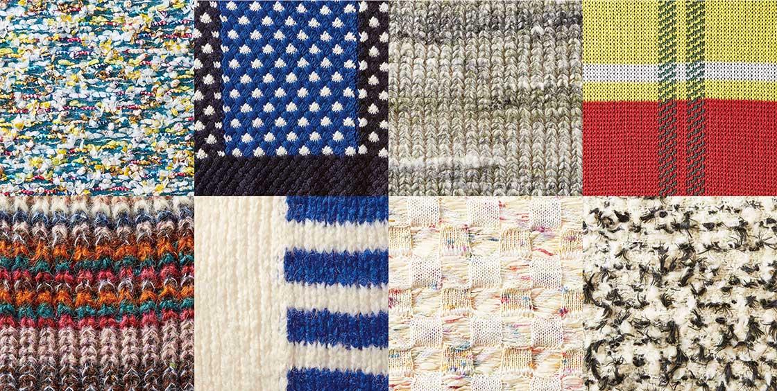使用する糸の色や素材を組み合わせ編み方を変えることで様々な模様がうまれる