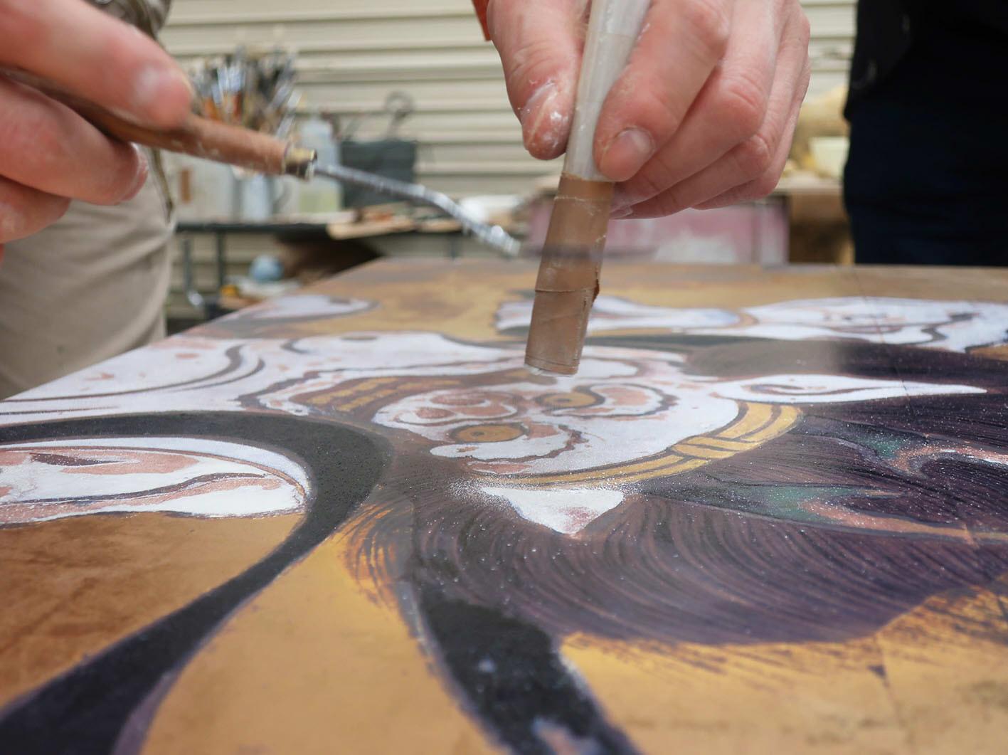 陶板製作風景