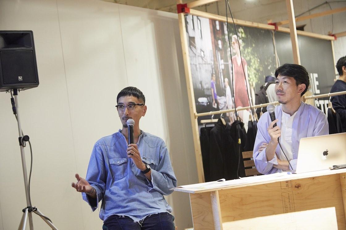 (左)六本松 蔦屋書店のショップインショップとして、地元福岡で地域に根ざした独自のお店づくりをしている「吉嗣 (よしつぐ) 商店」の吉嗣直恭さん、(右) 司会を務めた中川政七商店の高倉泰