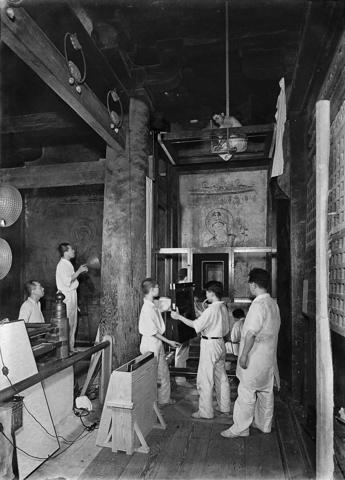 株式会社便利堂・法隆寺金堂壁画撮影の様子(1935年)