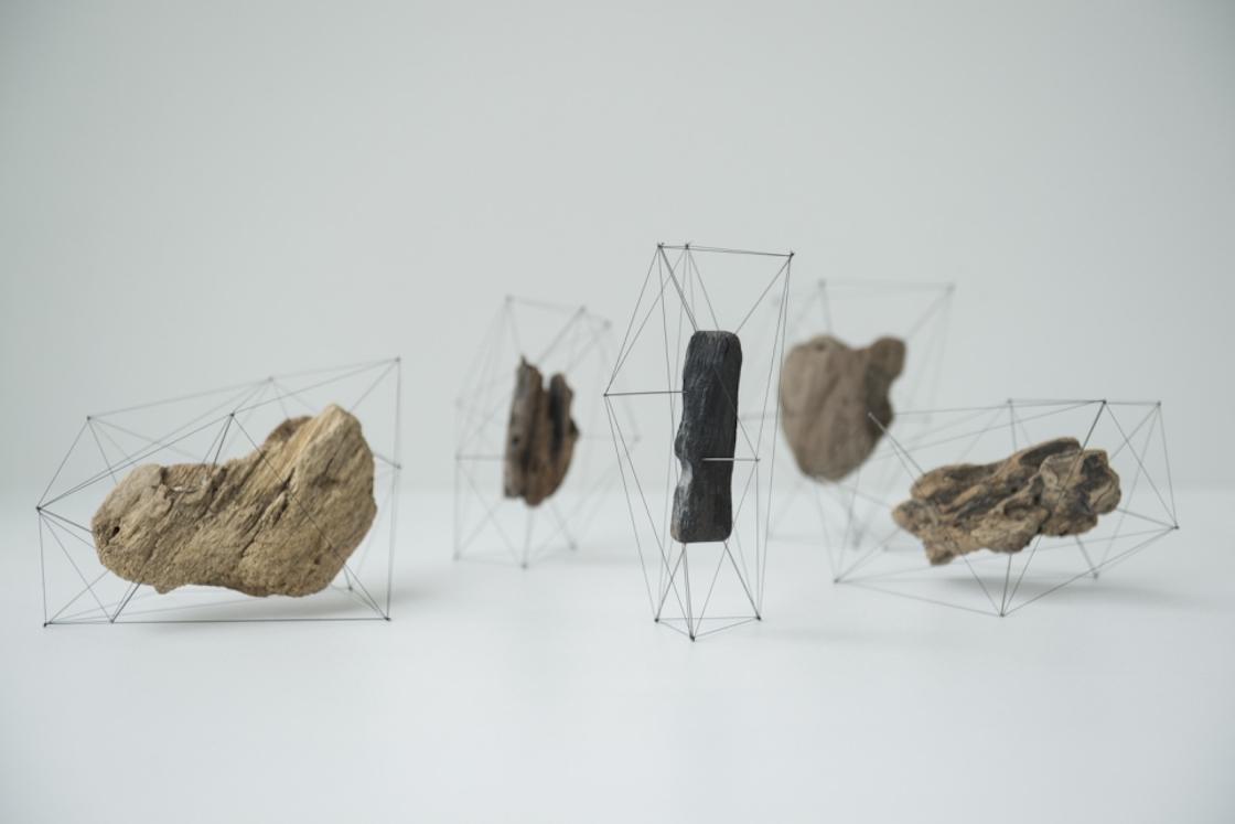 流木に刺したピンの頂点を線で繋ぎ、面で全体を覆うことでもう1つの外皮を制作したオブジェ「Crust of the polygon_流木01」
