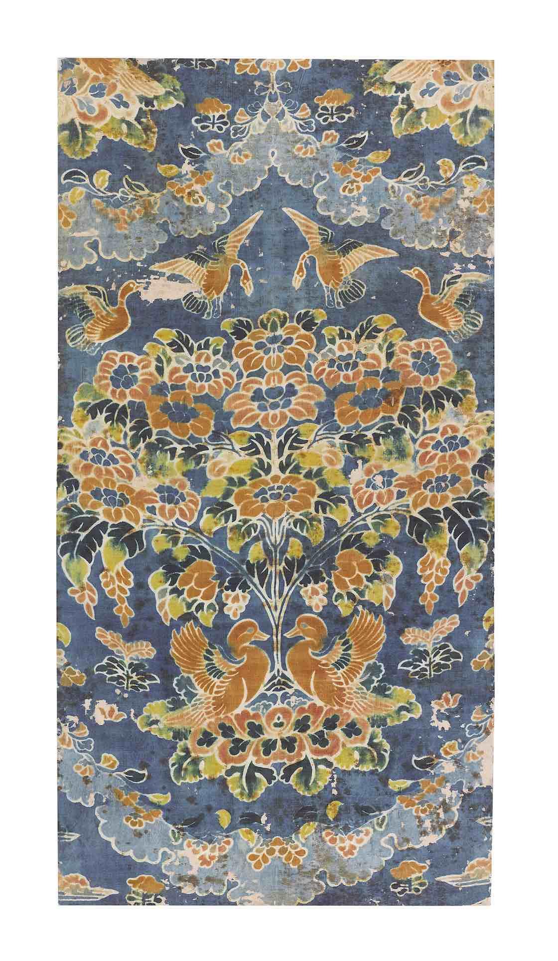 紺夾纈絁几褥 奈良時代・8世紀 正倉院宝物 【後期展示11月6日~24日】