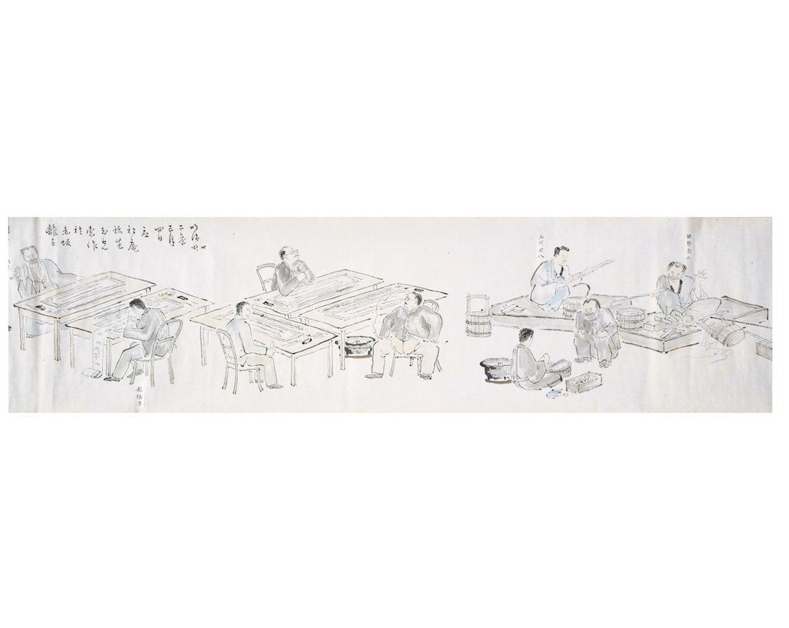 正倉院御物修理図 稲垣蘭圃筆 明治22年(1889) 東京国立博物館 【通期展示】。明治の修理の様子が描かれている