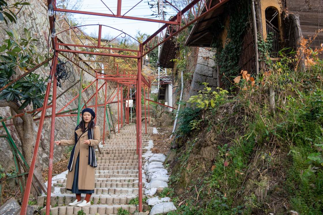 住宅街の間にある石段を上へ上へとあがっていく豊田さん