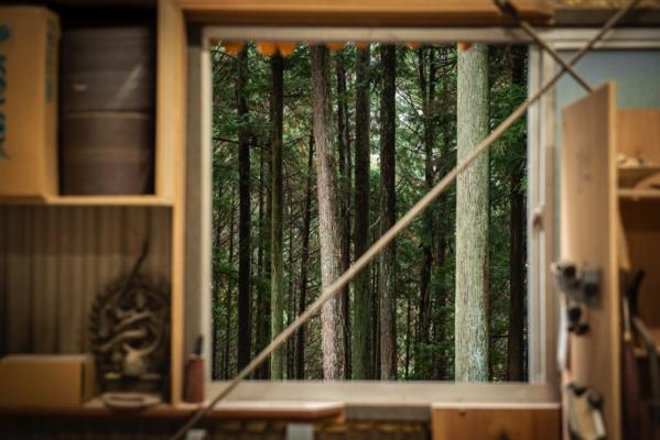 工房は木々に囲まれた山深い場所に佇んでいます