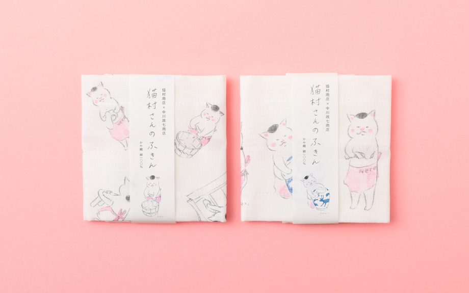 """猫村商店×中川政七商店 「きょうの猫村さん」の""""かや織""""ふきんデビュー"""