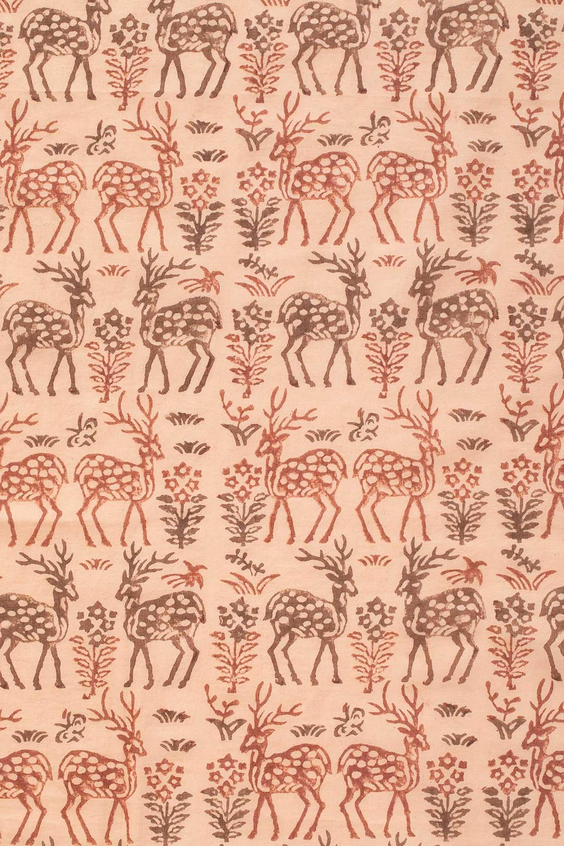 「インドブロックプリント鹿草木」