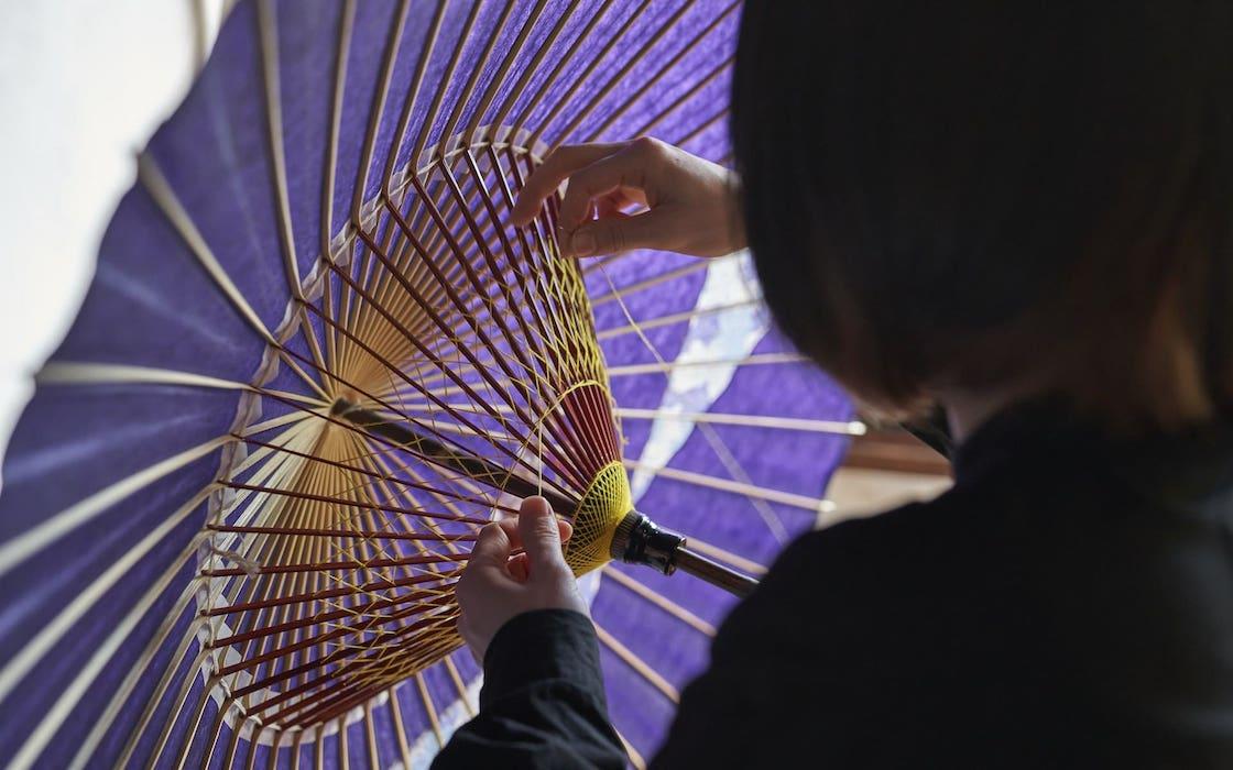 岐阜和傘職人 河合幹子さん 手かがり作業