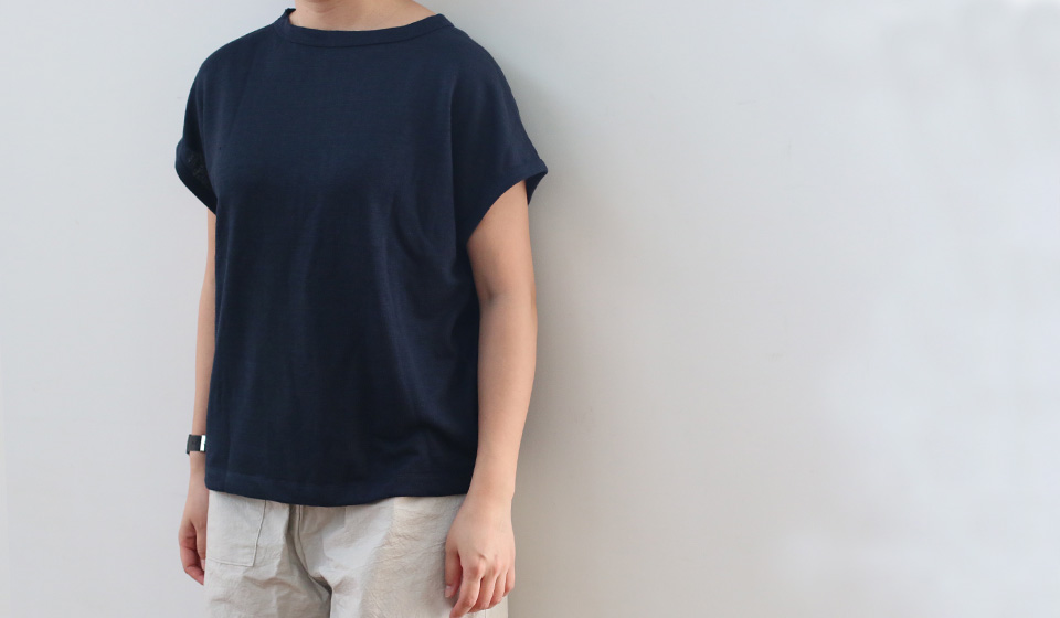 【わたしの好きなもの】厚手麻ニットのプルオーバーフレンチ袖