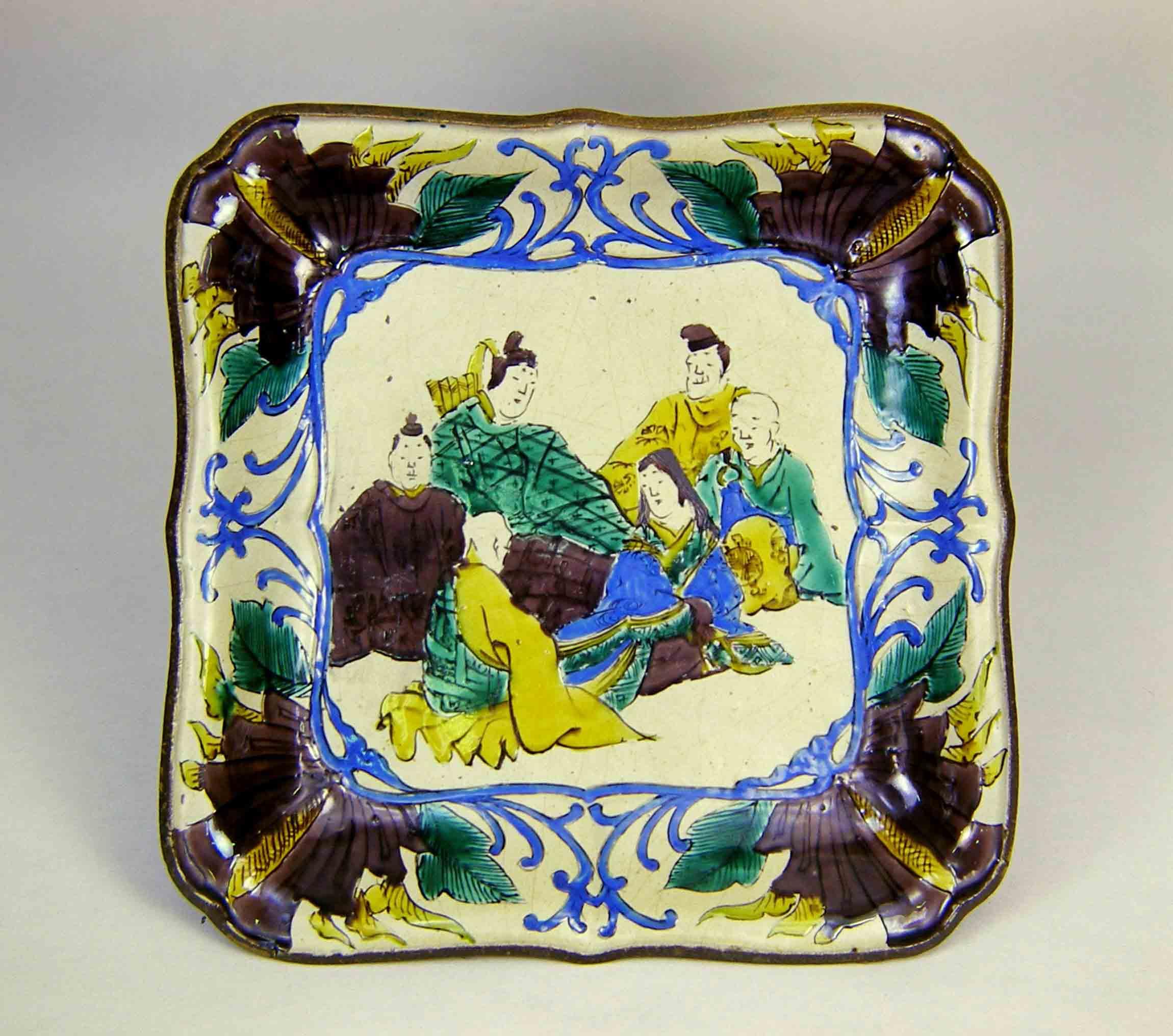 吉田屋窯 六歌仙図額鉢 (石川県九谷焼美術館 蔵)